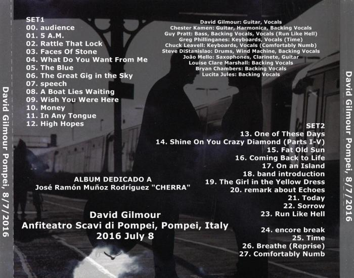 David Gilmour [2016.07.08] Pompeii 2016 (Pompeii, Italy) - Back Cover