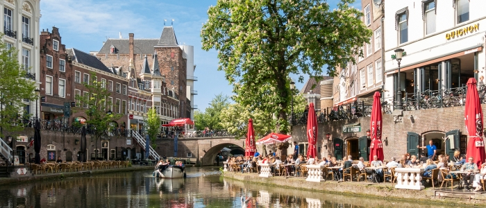 Oudaen  Castle and Oudegracht canal in Utrecht, Netherlands